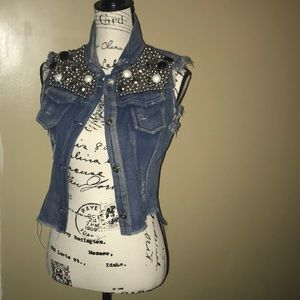 Embellished Studded Rhinestone denim jacket
